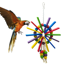 1 pcs Birds Toys Colorful Parrot Chew Bite Climb Wooden Ladders Hanging Bird Cage Accessories Pet Supplies