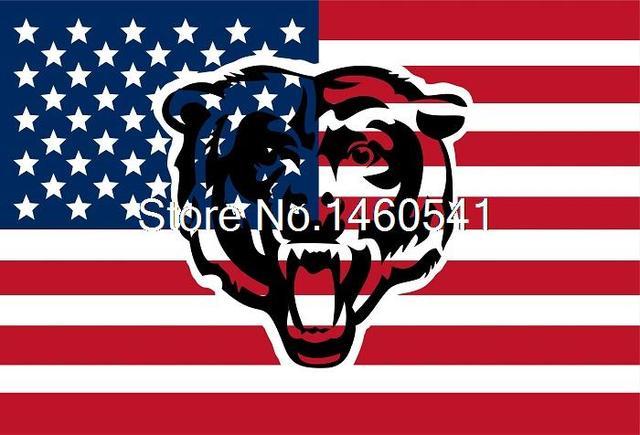 Chicago Bears Ahueca Hacia Fuera Forma Con Ee Uu Bandera Number - Baeras-con-pies