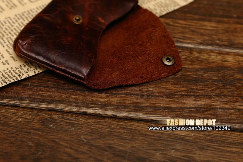 Oil Waxed Dark Brown Credit Card Wallet Card Bag Coin Wallet man and women (5)
