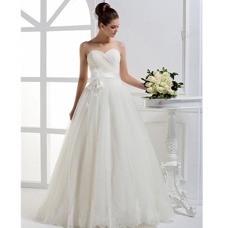 2015 New Collection Simple Wedding Dresses Princess Pleat
