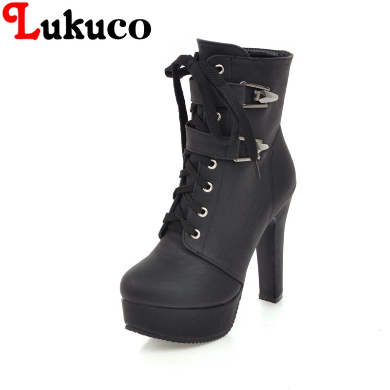 2018 new large size 38 39 40 41 42 43 44 45 46 47 48 49 Lukuco women boots lace-up design high quality lady shoes free shipping
