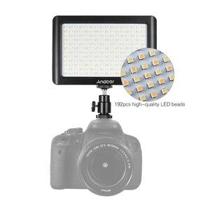Image 2 - Andoer Mini Studio vidéo photographie LED panneau lumineux lampe 3200K/6000K 192 pièces perles pour Canon Nikon DSLR appareil photo DV caméscope