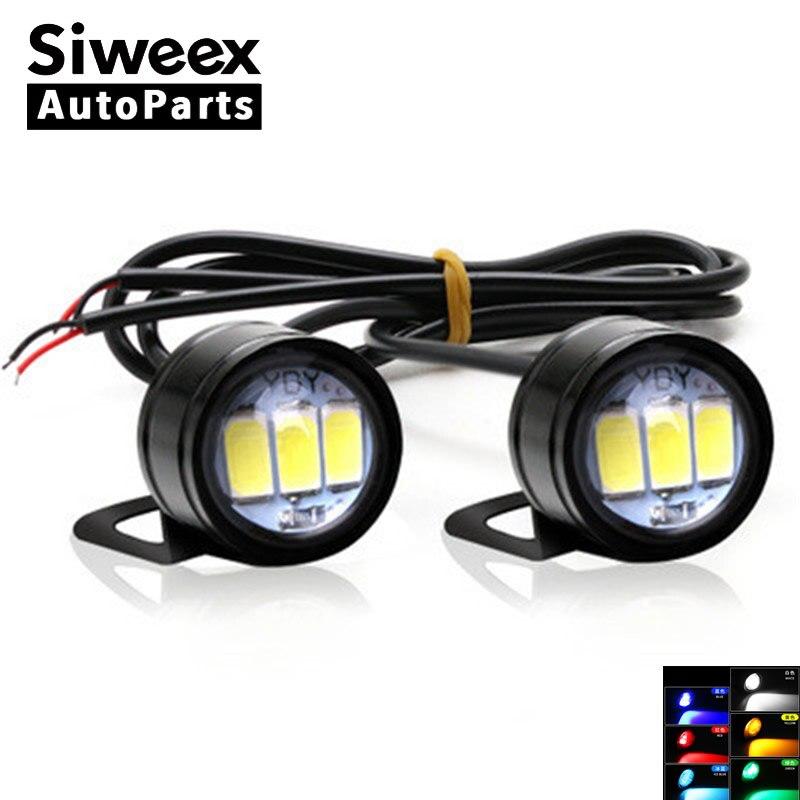 2 Pcs 3SMD 5730 Eagle Eye LED Reverse Backup Light DRL Daytime Running Light Signal Bulb Fog Lamp For Motorcycle White 12V