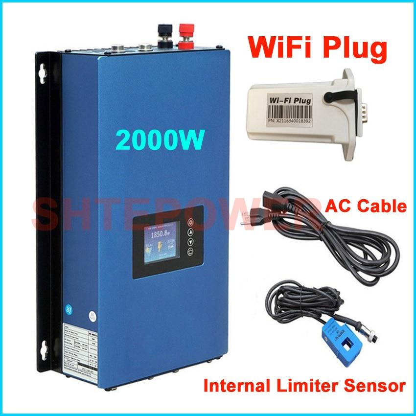 Laço da grade inversor Solar 2000 W 45-90 V DC display LCD MPPT entrada limitador interno sensor de saída AC 220 V 230 V 240 V trabalho auto