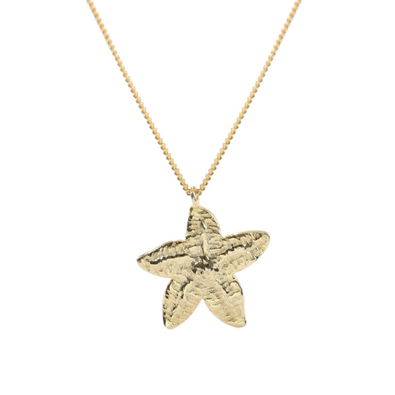 New Trendy Bohemia Cute Real 925 Sterling Silver Starfish Pendant Necklace For Women Gold Color Beach Jewelry Holiday Gifts in Necklaces from Jewelry Accessories