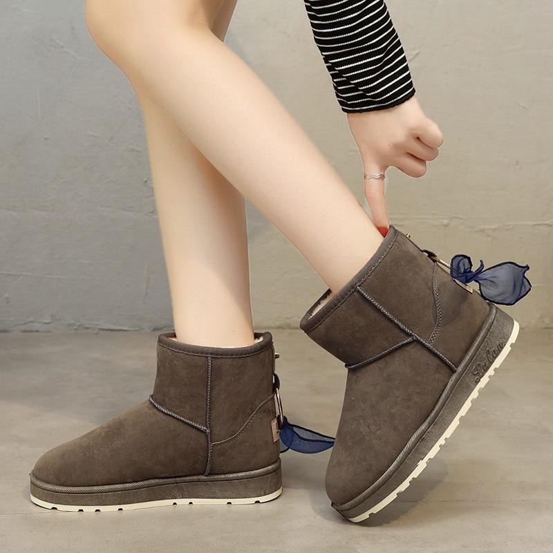 Color púrpura Zapatos Gamuza De 36 40 naranja Sólido Moda Las Caliente Plana Ydp Nieve Negro gris Mujeres Botas Tamaño wIqUEt6d6x