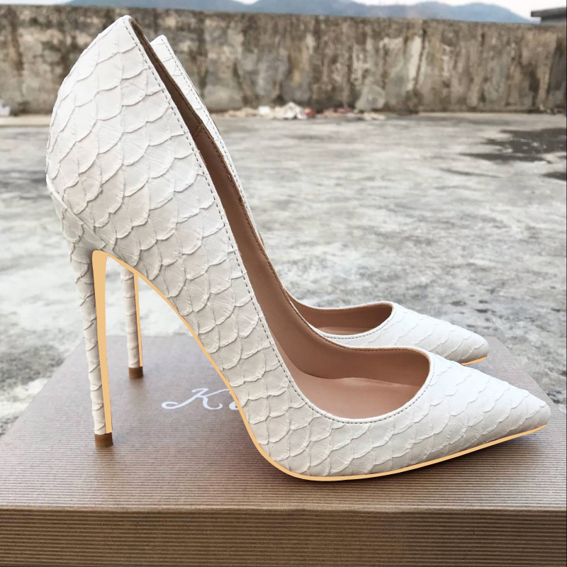 New European and American 12cm white snake skin high heel shoes, women's shoes and 10cm shoes.
