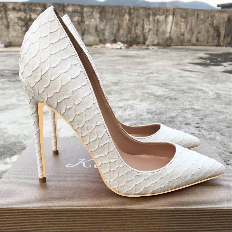 Nouvelles chaussures à talons hauts en peau de serpent blanc européen et américain de 12 cm, chaussures pour femmes et chaussures de 10 cm.