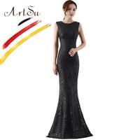 ArtSu Luxury Gold Sequin Party Dress Black Red Women Long Christmas Dress Sleeveless Floor Length Mesh Mermaid Dress Prom Gown