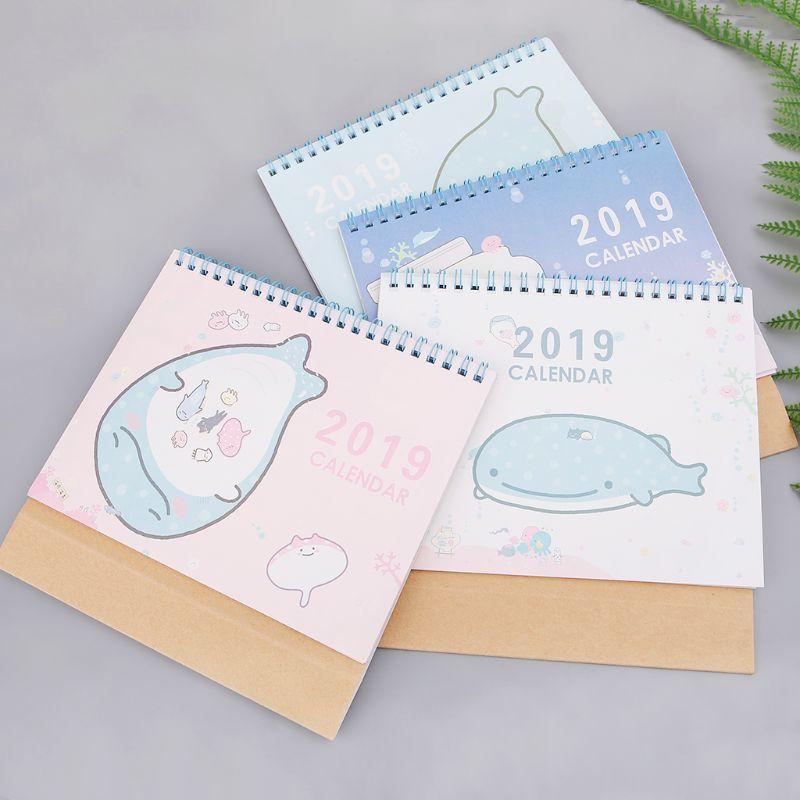 Kalender, Planer Und Karten Office & School Supplies DemüTigen 2019 Desktop Stehenden Spule Papier Kalender Cartoon Delphin Zeitplan Planer Jährlich Agenda Organizer