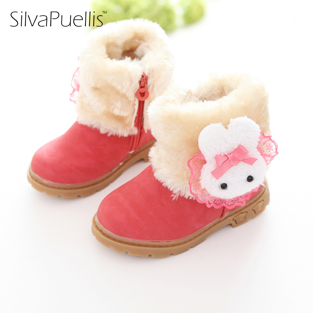 New SilvaPuellis 2017 Children Cute Beautiful Snow Boots Non-slip Boots Shoes Winter Girl Princess Fashion Fluff Warm