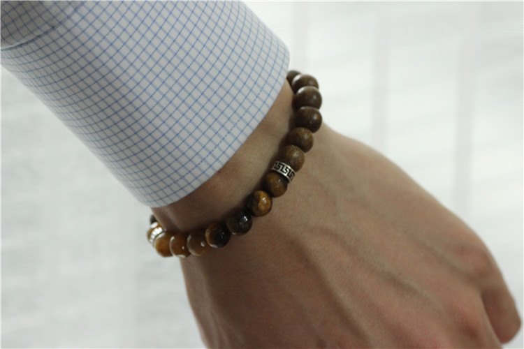 Tiger Eye Stone Wood Beads Mens Bracelet Men 925 Sterling Silver Stretch Handmade Mala Jewelry In Strand Bracelets From