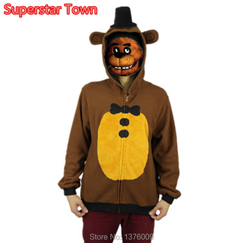 Five Nights At Freddys Hoodies Freddy Bear Cosplay Costume Hoodie Adult Autumn Winter Warm Funny Coat Zipper Jacket Hoodies diy crop top