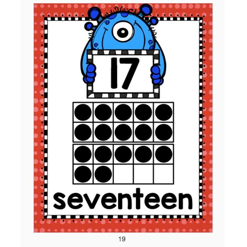 21Pcs/Set 0-20 Number Poster English Digital Poster A4 Plastic Seal Training Number Sense Classroom Decoration Teaching Aids
