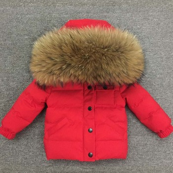 Boys Girls Jacket 2018 Winter Coat Kids Warm Thick Hooded Big Fur Collar Children Outerwear Coat Girl Boy 65-135cm 1-9Y Clothing