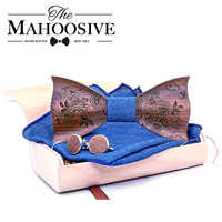 3D Engraving Wooden Bow Ties for Men ties Wood Bowtie Handmade Butterfly Wood Bow Tie Gravata gift Cufflink handkerchief Set box