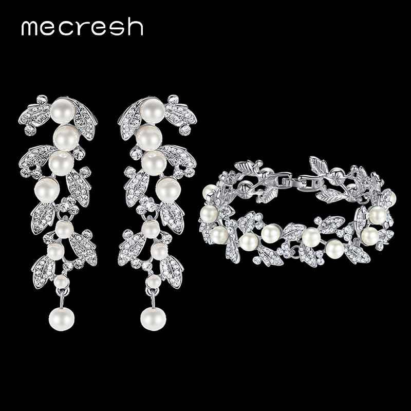 Mecresh Simulated Pearl Bridal Jewelry Sets Leaves Crystal Wedding Bracelet Earrings Sets Jewelry Christmas Gift SL089+EH604