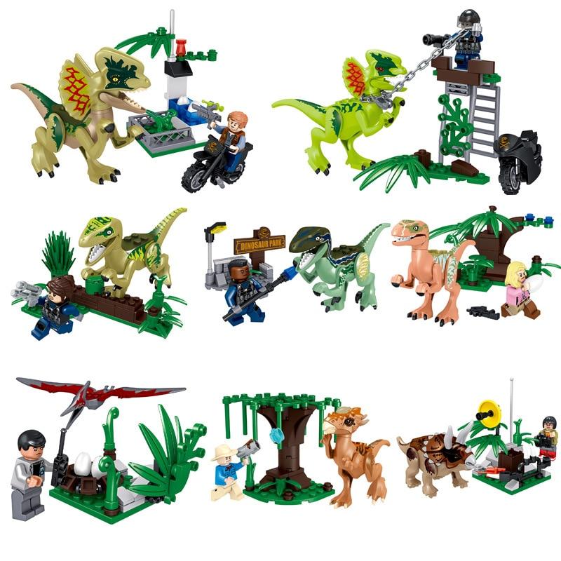 Lele Jurassic World Park Dinosaur Dino Tyrannosaurus T-Rex Pterosauria Triceratops Building Blocks Bricks Toy for Children