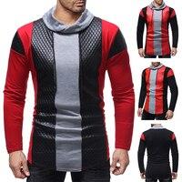 Male 2018 Brand Long Sleeve Stitching Leather T Shirt Stand Collar Slim Men T Shirt Tops Fashion Mens Tee Shirt T Shirts
