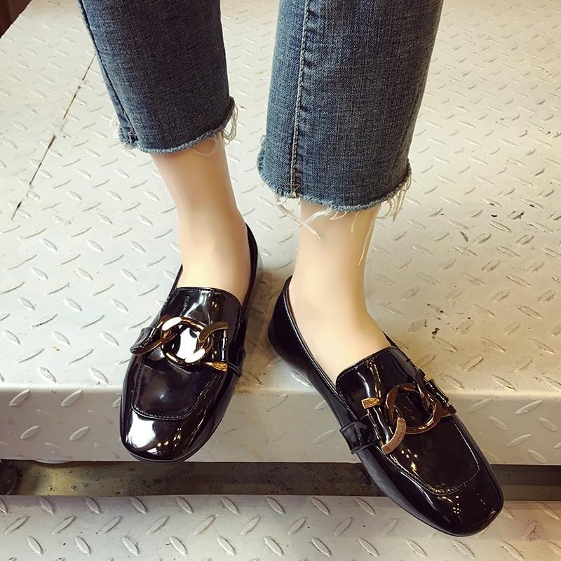 Cuir En Décorer Chaussures Mocassins Derby Plat Bout Britannique Style Petit Appartements 1 Carré Verni Femme Chaîne Marque wHgFnExq