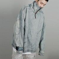 Denim Jean Sweatshirt Men's High collar Wash Water Denim Jacket OVERSIZE Skateboard Loose Shoulder Retro Sweatshirt US Size S XL