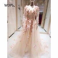 Fairy Illusion Evening Gowns Long Sleeves Sheer Neck Floral Evening Dresses Elegant Vestidos De Festa Gorgeous Formal Dresses
