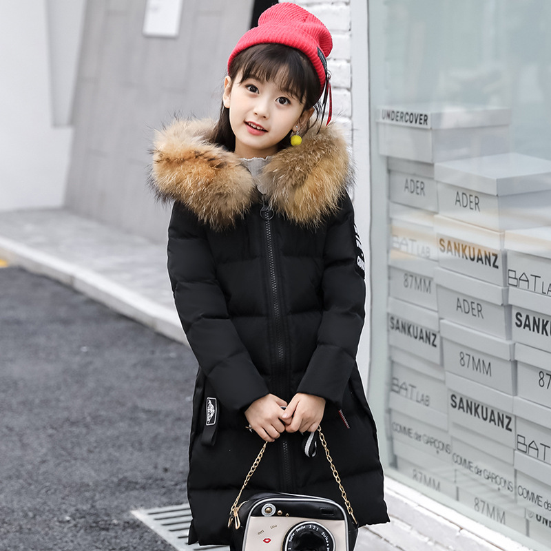 PINKWIN 2018 Russia -35 Degrees Winter Teenagers Girls White Duck Down Jacket With Real Fur Collar Warm Padded Coat X-long Style uneven hem striped midi skirt