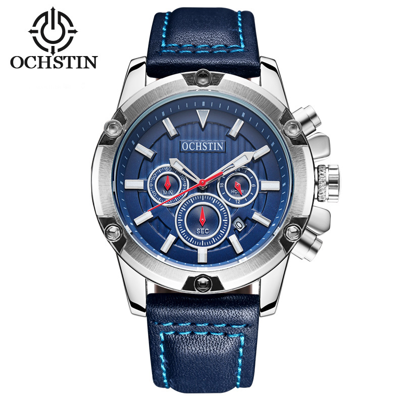 OCHSTIN Men Sport black leather Watch 30M Waterproof Luxury Brand Quartz Watches relogio masculino Clock male Gold Wristwatch ochstin quartz chronograph sport watches men waterproof leather military wrist watch men clock male reloj relogio masculino