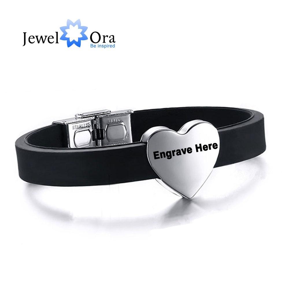 Personalized Engraved Bracelet For Men Heart Shape Stainless Steel Bracelets  & Bangles Fashion Jewelry (jewelora