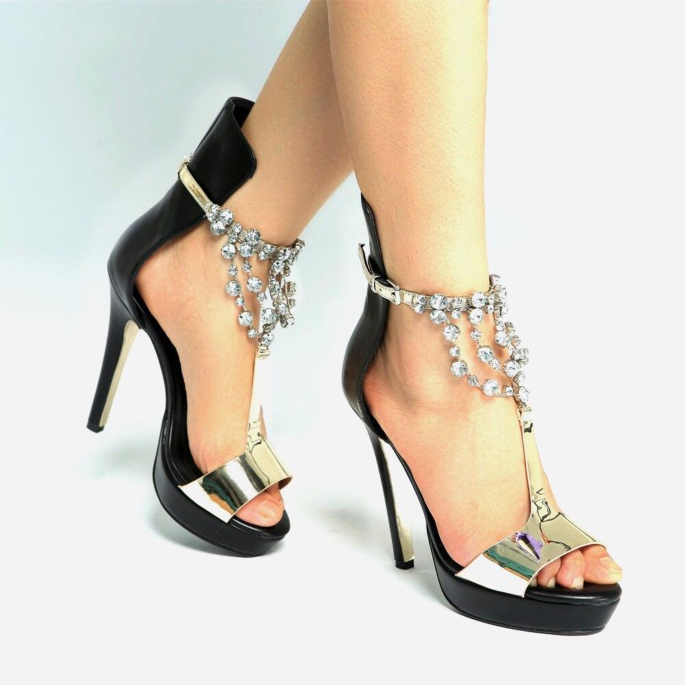 Bling Bling strass chaînes t-strap sandales miroir en cuir Patchwork plate-forme talons hauts gladiateur Peep toe dames sandales - 4