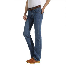 Fashion Mens Bell Bottom Jeans Business Blue Mid Waist Slim Fit Boot Cut Semi-flared Flare Leg Denim Pants 28-38