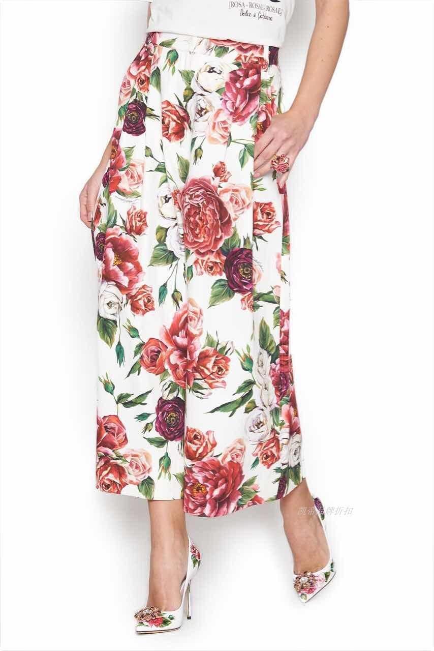 Customize Women Plus Size 3XS-10XL Flower Print Loose Wide Leg Pants