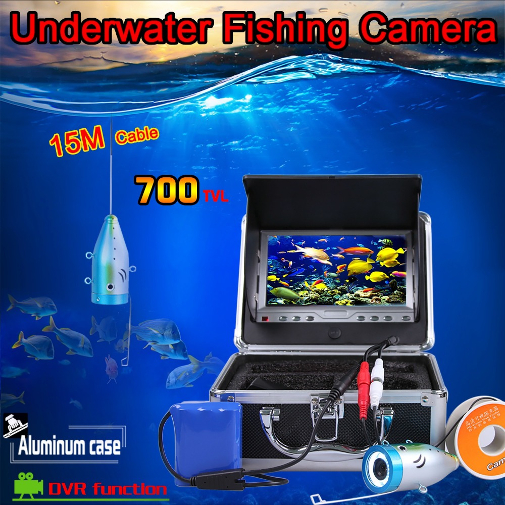 (1 set)15M Cable Underwater Camera system with DVR Function 7inch color monitor HD 700TVL Waterproof Fish Finder Night Version(1 set)15M Cable Underwater Camera system with DVR Function 7inch color monitor HD 700TVL Waterproof Fish Finder Night Version