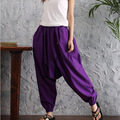 2017 Summer New Plus Size Women Folk Style Cotton and Linen Loose Ninth Pants Casual Harem Buckle Big Crotch Pants