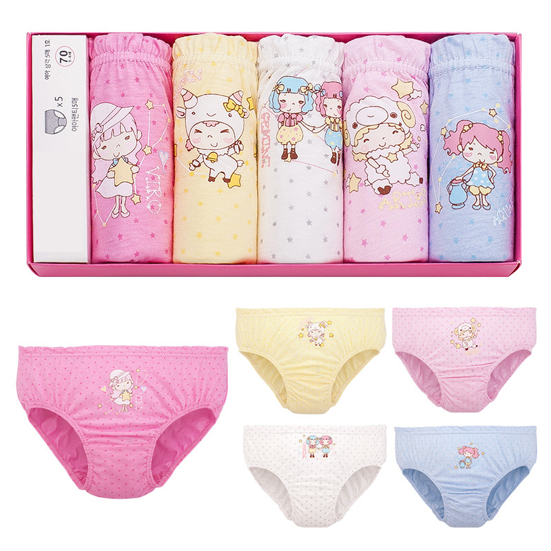 1 Piece 3-12T Kids Cotton Panties Girl Panties Female Cartoon Printed Child Baby Comics Pants Bowknot Briefs Underwear