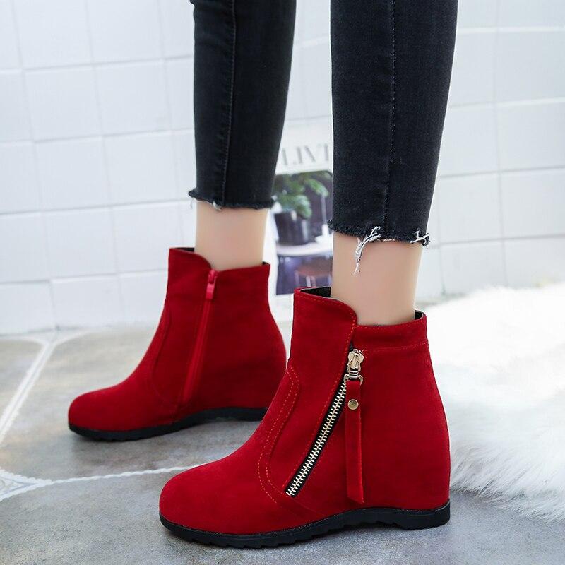 Femmes rouge Creepers Hiver forme Beige Glissière Automne 2018 Bottines Femme Latérale Appartements noir De Coins Bottes Chaussures Mode Occasionnels Plate dzHqdS