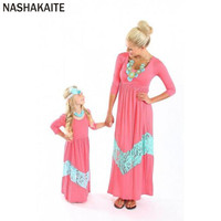 NASHAKAITE mother daughter dresses Pink Patchwork Lace Three Quarter Long Dress matching outfits family matching clothes