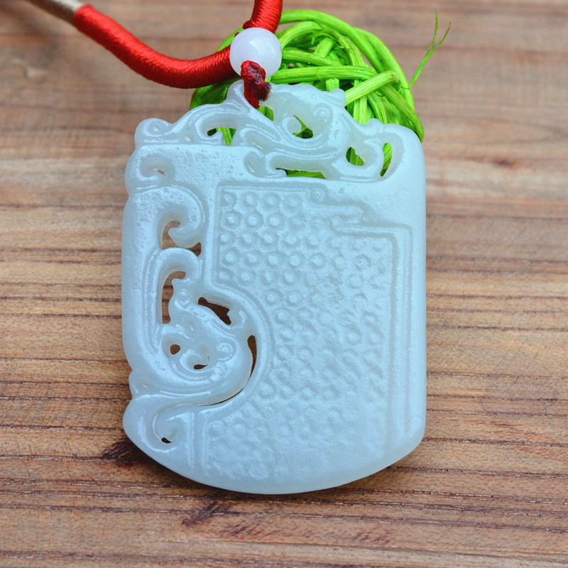 Wholesale high quality Natural HETIAN Stone White Hollow out Hand Carved Chinese Dragon Phoenix Pendant Necklace Men's Jewelry