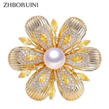 ZHBORUINI 2019 New Delicate Natural Freshwater Pearl Brooch Vintage Gold Flower Brooch Pins Pearl Jewelry For Women Accessories delicate rhinestone layered flower women s brooch