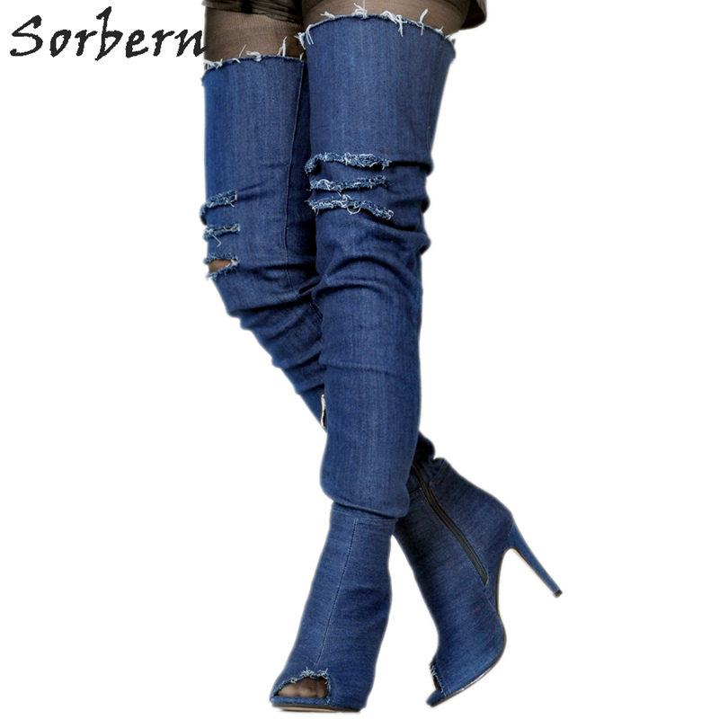 Sorbern Blue Jeans Peep Toe Over The Knee Boots For Women Platform Shoes Fetish High Heels Booties Prova Perfetto Cn Size 34-47 dark blue belted peep toe fashion booties