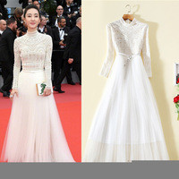 2018 Real Sale Mesh Vintage A line Solid Vadim 2019 Dresses Early Star With Heavy Retro Sweet Fairy Gauze Dress A Undertakes