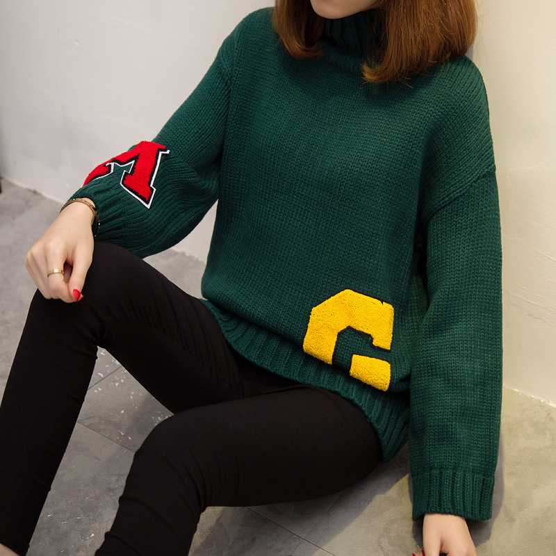 40495508c19 sueter mujer Army Green Plus Size Letters G Knitted Sweater O Neck loose  Pullover Women Tops Slim Jumper Casual Pull Femme, -in Pullovers from ...