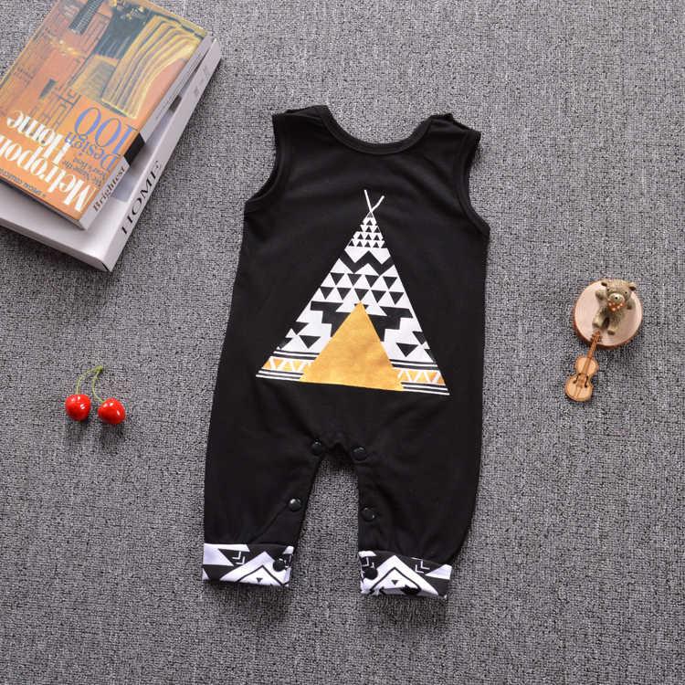 2019 новые модные детские комбинезоны, Одежда для младенцев, хлопковый черный Детский костюм без рукавов, Одежда для новорожденных мальчиков и девочек