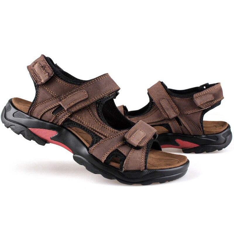 MenS Sandals Slippers Genuine Leather Cowhide Men Sandals Brand Designer Classical Summer Flat Footwear Man Beach Casual Shoes