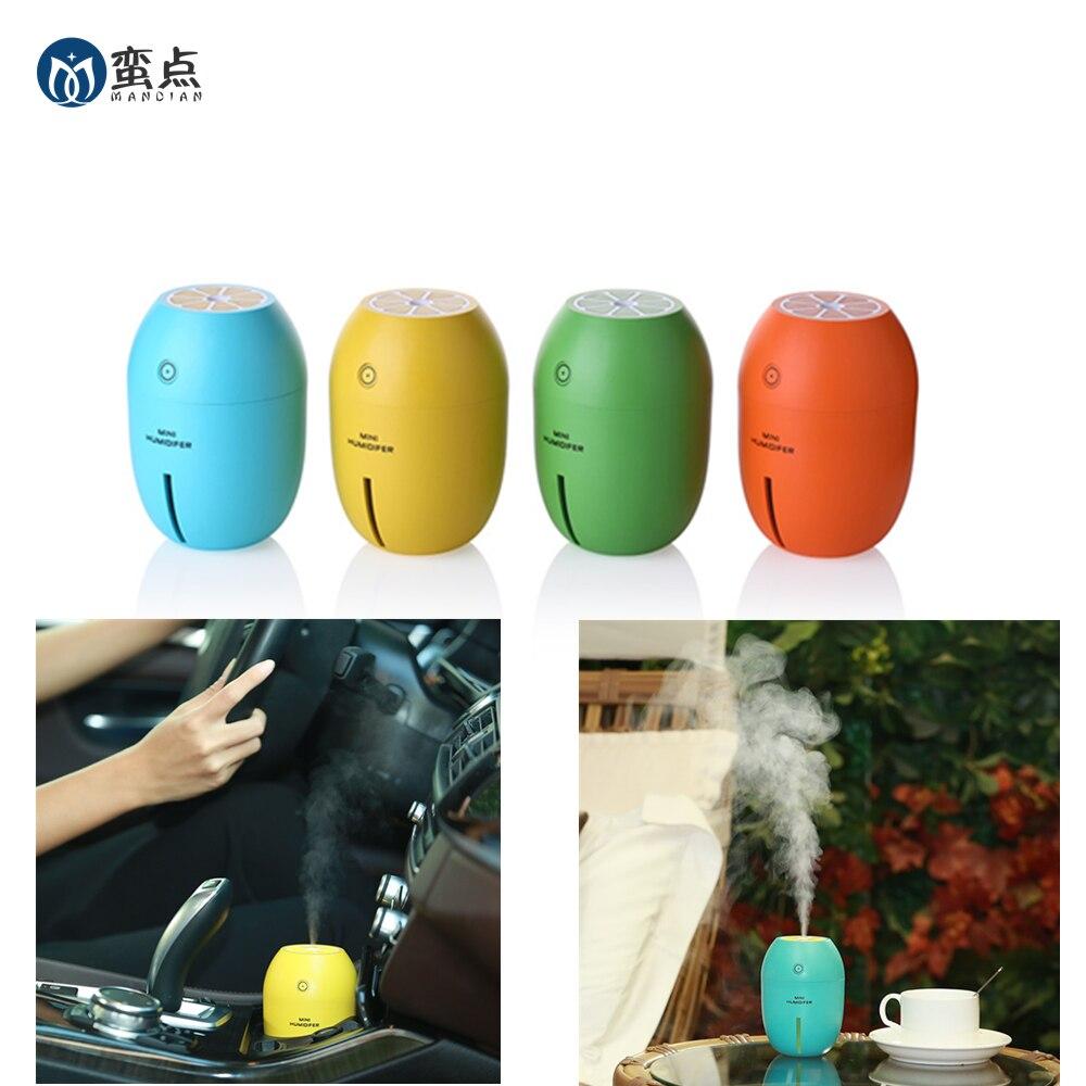 Lemon Office Ultrasonic USB Humidifier Portable Cup Mini Night Light 180ML Cool Mist Car Air Purifier Steam Diffuser
