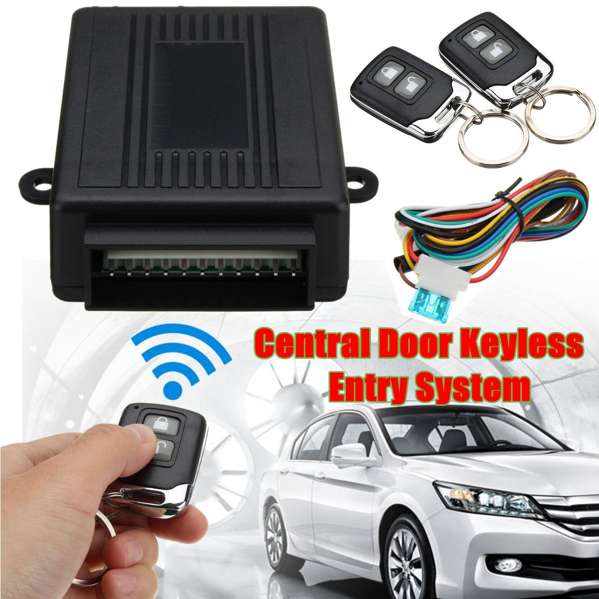 Universal Car Alarm Systems Central Door Lock Locking Keyless Entry System With 2 Remote Controllers 12V 108dB