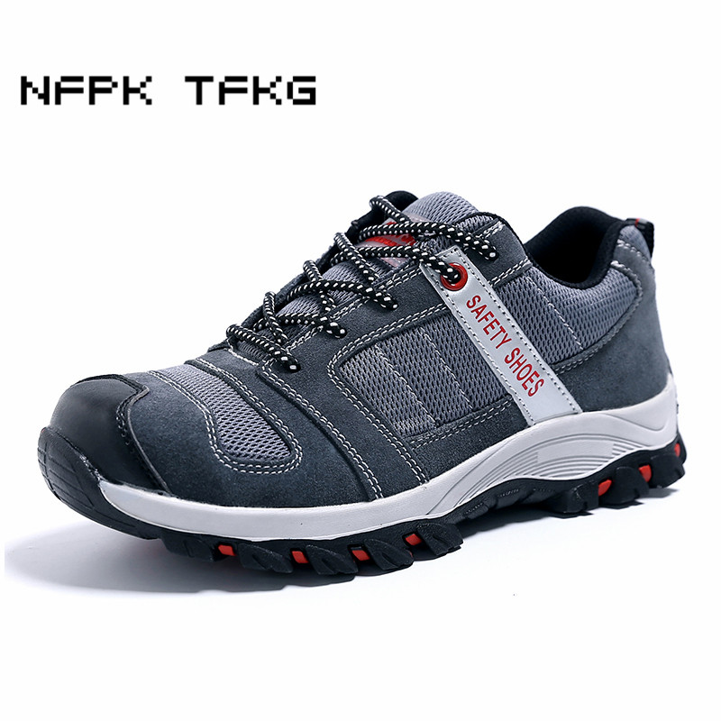 plus size mens casual steel toe covers work safety shoes cow suede leather anti-pierce building site worker dress security boots все цены