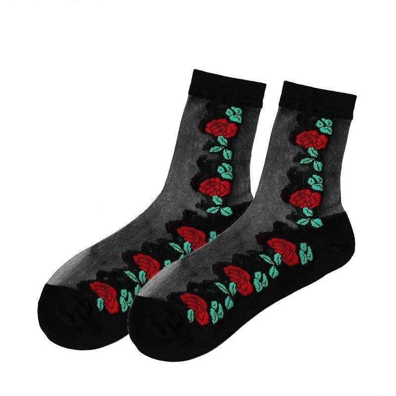 Wholesale summer crystal stocks popular print invisible female socks 50 pairs