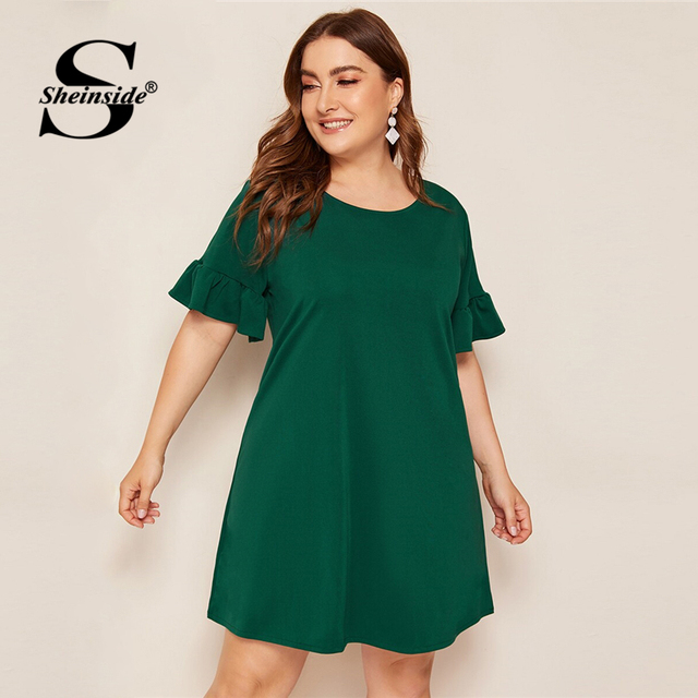 Sheinside Plus Size Green Casual Straight Dress Women 2019 Summer Short Sleeve Mini Dresses Ladies Solid Back V-Cut Dress