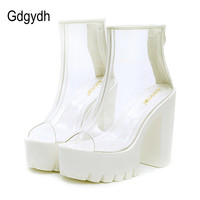 Gdgydh 2017 Summer Boots Open Toe Patent Leather Platform Female Shoes Casual High Heels 13cm Women